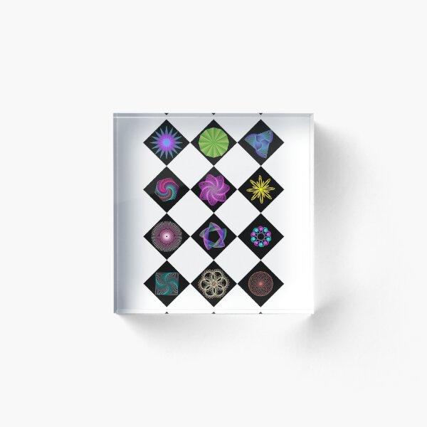 Beautiful colorful geometric rhombus shapes Acrylic Block