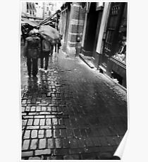rain. cobble stones. Brussels Poster