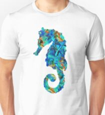 Blue Seahorse Art by Sharon Cummings Unisex T-Shirt