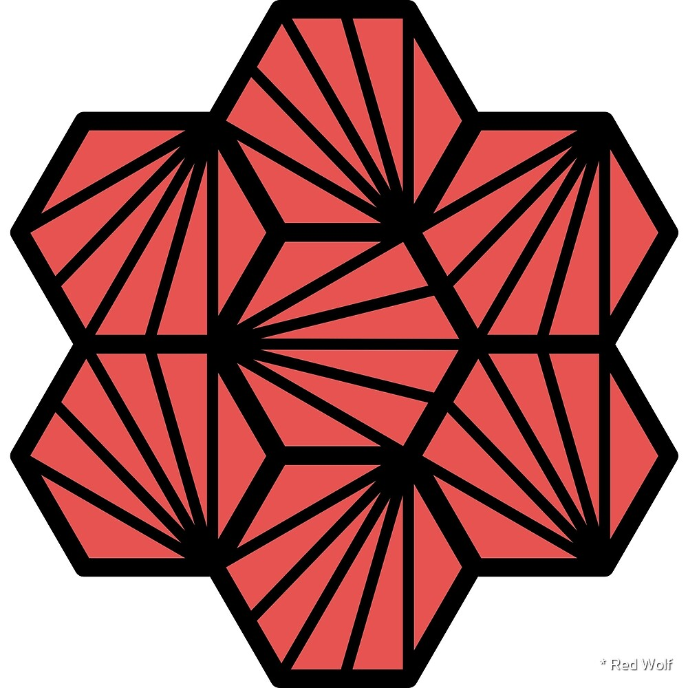 Geometric Pattern: Hexagon Ray: Red Black by * Red Wolf