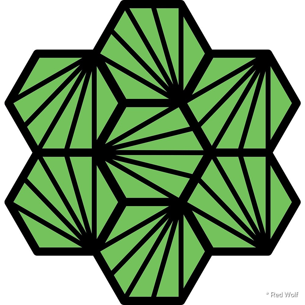 Geometric Pattern: Hexagon Ray: Green Black by * Red Wolf