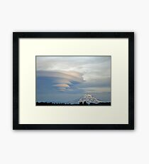 Fabulous Lenticular cloud and Mount Rainier Framed Print