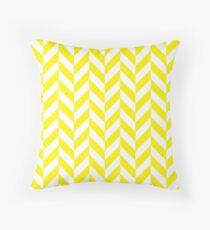 Yellow Offset Chevrons Throw Pillow