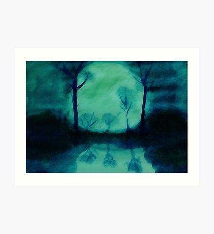 The Moons glow, watercolor Art Print