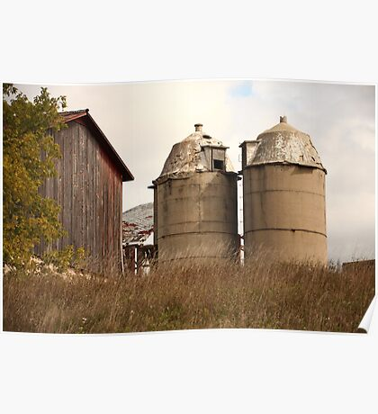 Two Old Silos Talking About the Barn Poster
