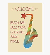 Beach bar jazz poster Photographic Print