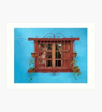Red window blues Art Print