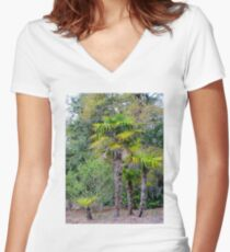 Family of Palm Trees Women's Fitted V-Neck T-Shirt