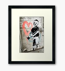 Banksy Boy with Painted Heart Framed Print