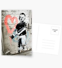 Banksy Boy with Painted Heart Postcards