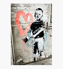 Banksy Boy with Painted Heart Photographic Print