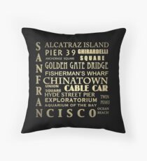 San Francisco Famous Landmarks Throw Pillow