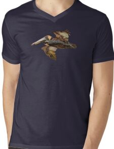 Brown Pelican Flight with Vintage Seafoam Stripe (California Bird) Mens V-Neck T-Shirt