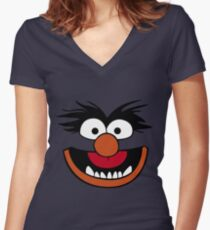 Animal Muppet (Orange Lips&Nose) Women's Fitted V-Neck T-Shirt