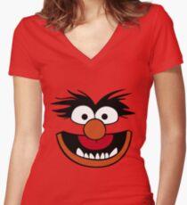 Animal Muppet (Orange Lips&Nose) Women's Fitted V-Neck T-Shirt