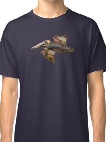 Brown Pelican Flight with Vintage Burgundy Stripe (California Bird) Classic T-Shirt