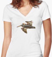 Brown Pelican Flight with Vintage Burgundy Stripe (California Bird) Women's Fitted V-Neck T-Shirt