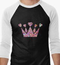 Pretty Pastel Glitter Queen of Hearts Men's Baseball ¾ T-Shirt