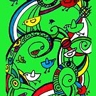 Birds Doodle Case Green by rhiannon85