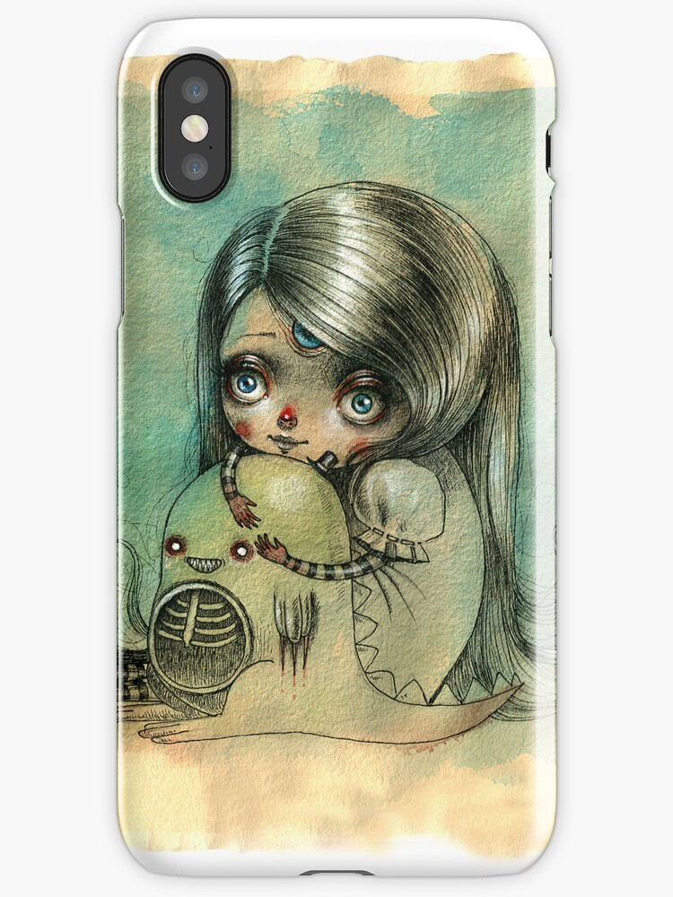 """You can play your videogames but please don't leave me"" iphone case by Ania Tomicka"