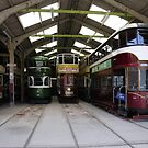 Restored trams in garage by OurKev