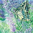 Butterfly on Lavender by clotheslineart