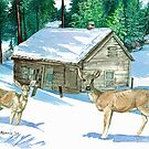 Winter Cabin by clotheslineart