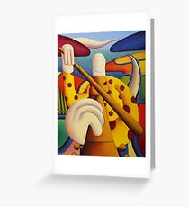 Polka fiddle player in softscape Greeting Card