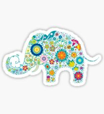 Retro Colorful Floral Elephant Illustration Sticker