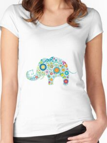 Retro Colorful Floral Elephant Illustration Women's Fitted Scoop T-Shirt