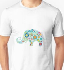 Retro Colorful Floral Elephant Illustration Slim Fit T-Shirt