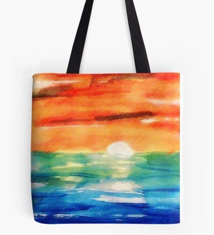Dusk on the sea, watercolor Tote Bag