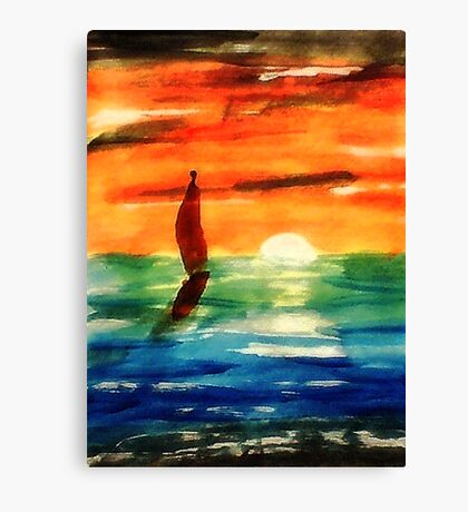 Dusk at Sea, revised, watercolor Canvas Print