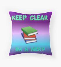 keep clear I'm a nerd Throw Pillow