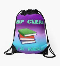 keep clear I'm a nerd Drawstring Bag