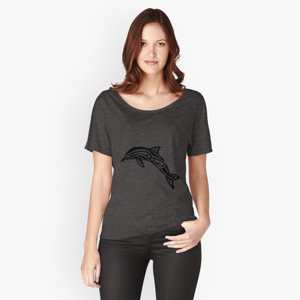 Dolphin Tribal Design  Women's Relaxed Fit T-Shirt Front