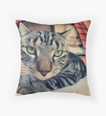 not happy Throw Pillow