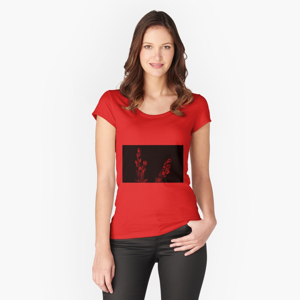 Red on Black Women's Fitted Scoop T-Shirt Front