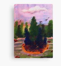 Nice fishing spot among the pines, watercolor Canvas Print