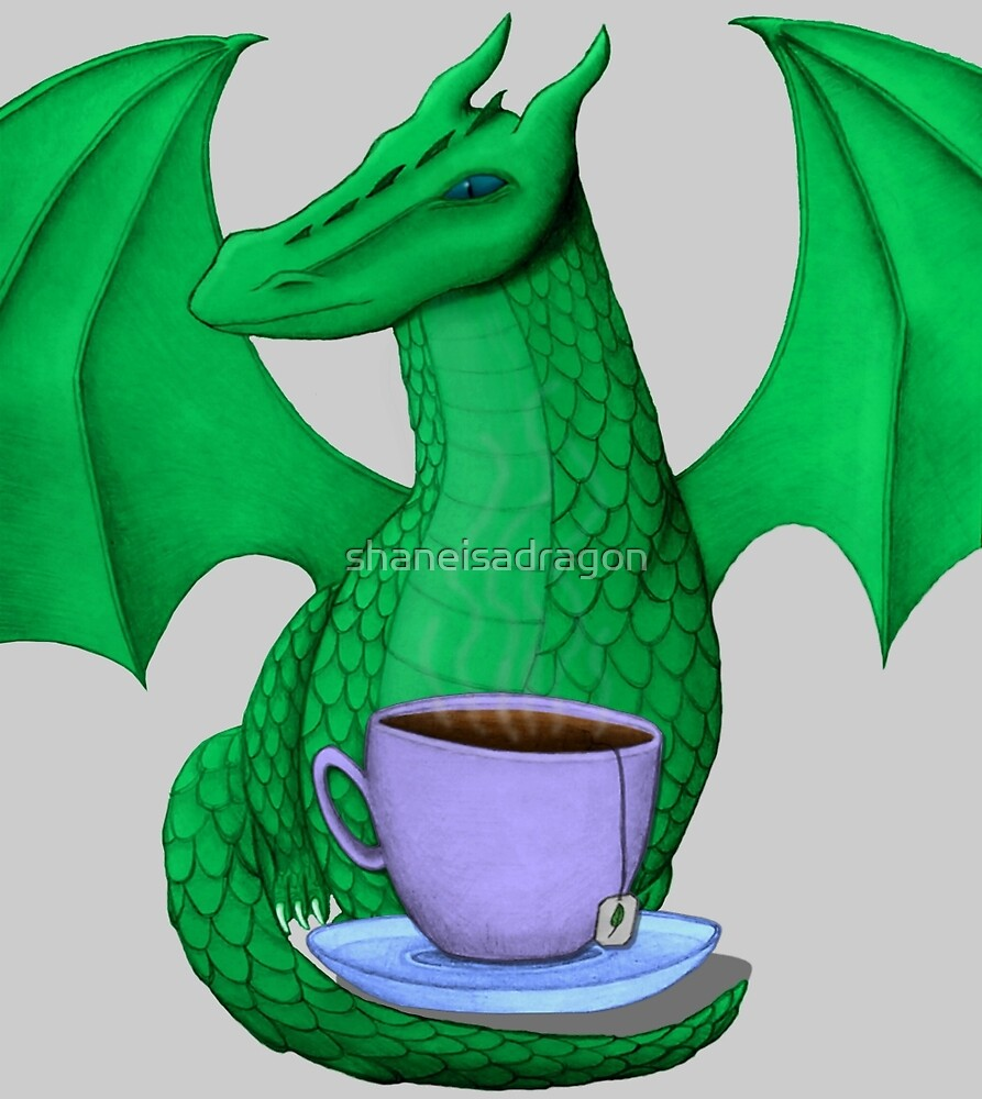 Green Dragon with Tea by shaneisadragon