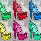 Colorful Louboutin Peep Toe Heels Pop Art 2 by Arts4U