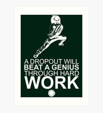 Rock Lee - A Dropout Will Beat A Genius Through Hard Work - White Art Print