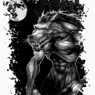 Werewolf and the full moon. by Zolicrayon