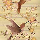 Hummingbirds - Wood Art by Vincent Doan