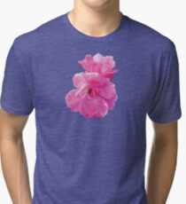 Two Pink Roses in Autumn Tri-blend T-Shirt