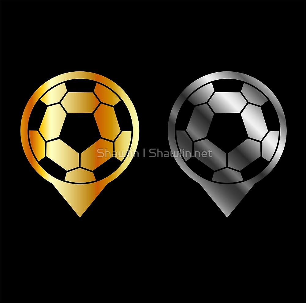 Footballs inside gold and silver placement- football stadium symbol  by Shawlin Mohd