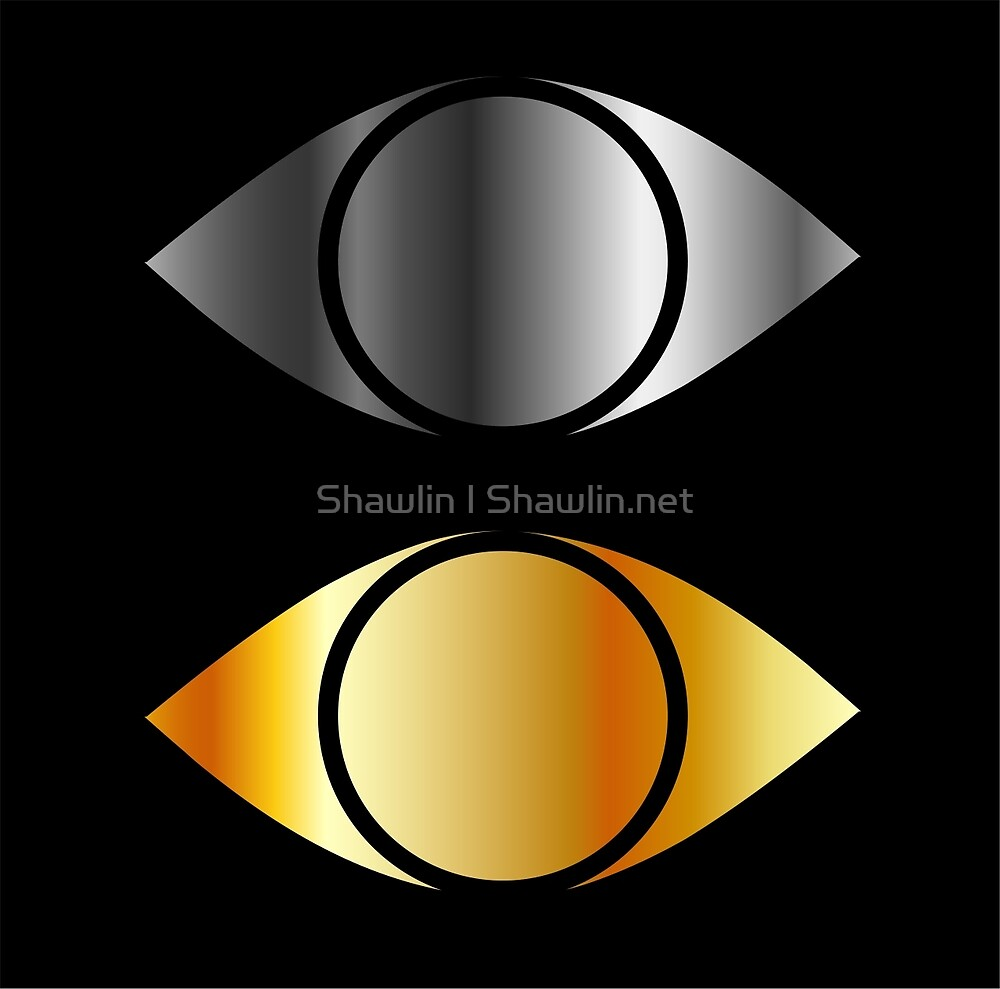 Set of eyes symbols in gold and silver  by Shawlin Mohd