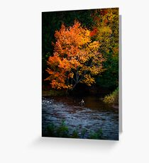 Angler on an Autumn River Greeting Card