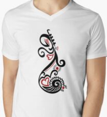Musical Motif Men's V-Neck T-Shirt