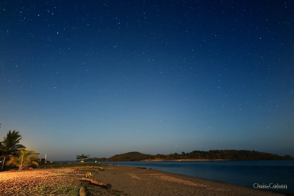 Red Island from Seisia in the moonlight by Chris Cohen